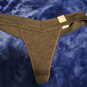 Black cotton thong